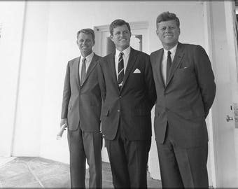 Poster, Many Sizes Available; John F. Kennedy, Robert Kennedy, And Edward Ted Kennedy Just Outside Oval Office 28 Aug 1963