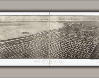 Texas sabine lake nautical chart decor - Port Arthur Etsy