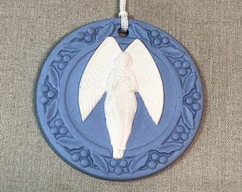 1989 Wedgwood Jasperware Angel Christmas Ornament