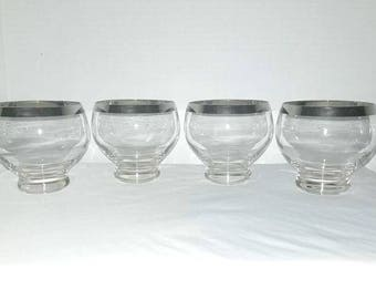 Dorothy Thorpe Silver Band Roly Poly Glass,Set of 4,12 oz,LARGE,Silver Band Low Ball,Barware,Roly,Mad Men,Silver Barware,Thorpe,MCM,1960s