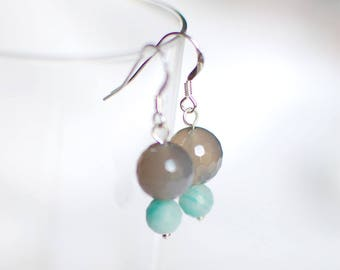 Quartz and amazonite - 925 Sterling Silver earrings