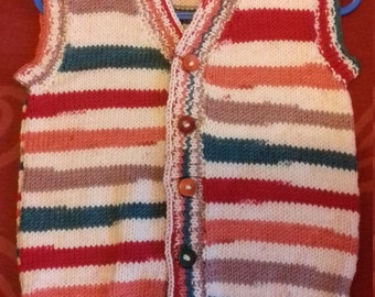 Hand knitted waistcoat,  knitted to fit a boy aged 2-3 years old