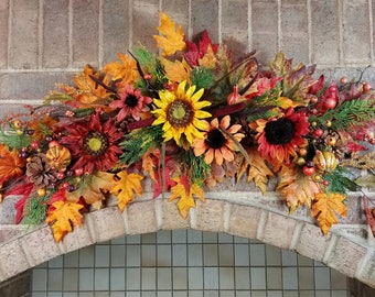 Fall Sunflower Pine Cone Swag, Thanksgiving Door Decor, Over the Door Garland, Fall Wedding Arch, X Large Harvest Door Wall Accent