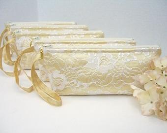 Set of 5 - Gold Satin Clutch- Ivory Lace Clutch - Gold Wedding Clutch - Gold And Ivory Clutch - Gold Bridesmaid Clutch - Gold Bridal Clutch