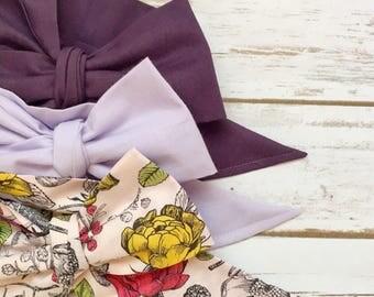 Gorgeous Wrap Trio (3 Gorgeous Wraps)- Royal Purple, Lavender & Vintage Pink Floral Gorgeous Wraps; headwraps; fabric head wraps; headbands