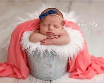 NAVY VINTAGE VELVET Hand-tied Bow (Headband or Clip)- velvet bow headband; velvet bow; newborn headband; baby headband; toddler bow