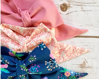 Gorgeous Wrap Trio (3 Gorgeous Wraps)- Vintage Pink, Marseille Gardens & Navy Floral Gorgeous Wraps; headwraps; fabric head wraps; bows