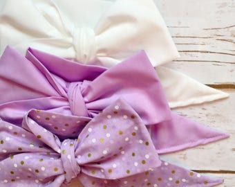 Gorgeous Wrap Trio (3 Gorgeous Wraps)- Blanc, Light Lavender & Lavender Confetti Gorgeous Wraps; headwraps; fabric head wraps; bows