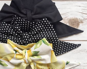 Gorgeous Wrap Trio (3 Gorgeous Wraps)- Noir, Noir Sky & Sweet Lemon Gorgeous Wraps; headwraps; fabric head wraps; bows