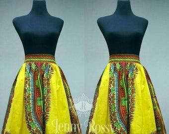 ON SALES African skirt,yellow Dashiki Skirt African print skirt,Ankara MiDi   skirt, African  clothing high waist skirt