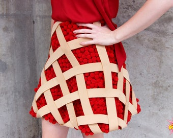 Cherry pie skirt a line skirts 3d fruit cherries pie cake cakes pastry pastries food art design designer fashion haute couture rommydebommy