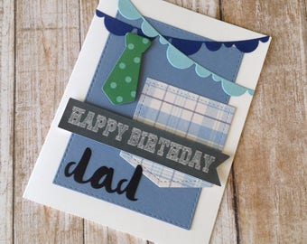 Happy Birthday Dad, Greeting Card, Suit tie and banners, Masculine card for Man, Father, husband, grandfather