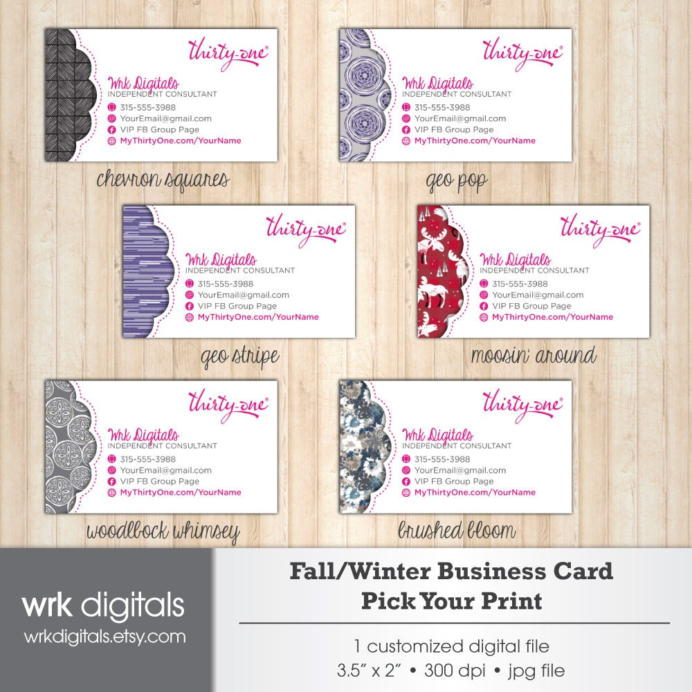 Thirty One Business Cards Fall Winter 2017 Prints Pick Your Print