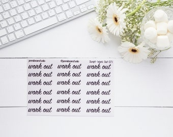 071 // Work Out Script Stickers for Erin Condren, Recollections, BuJo, Travelers' Notebooks