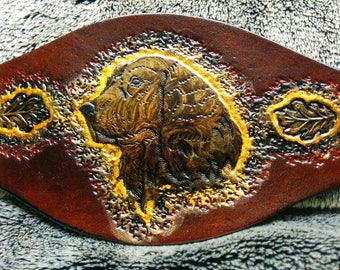 Leather Bracelet, dog, engraved and painted by hand pattern
