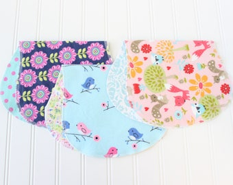 Baby Girl Burp Cloths - Set of 3 - Baby Gift - Baby Shower Gift - Aztec - Woodland
