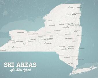 New York Ski Resorts Map 18x24 Poster