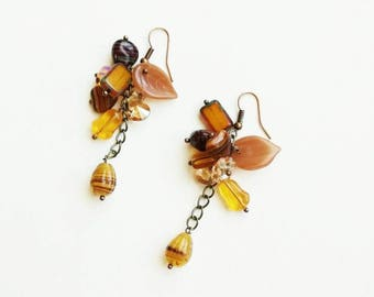 Brown Czech glass beads earrings boho medium long bronze handmade earrings light earrings handmade Czech glass beads earrings gift for her