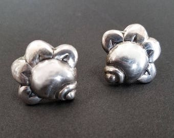 Vintage HECTOR AGUILAR Taxco Sterling Silver Floral Earrings, Taxco Silver, Taxco Jewelry