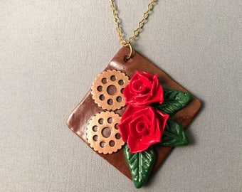 Steampunk Red Roses and Gears Pendant, red roses, beauty and the beast, rose necklace, steampunk necklace, roses and gears, rose pentant