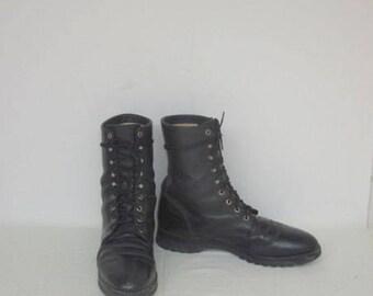 sz 12 D vintage black leather justin lace up granny combat boots