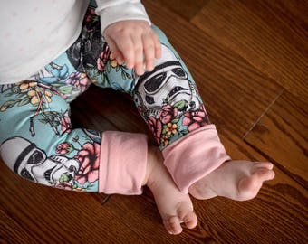 Grow with me pants, baby yoga pants, baby leggings, Star Wars baby, floral baby girl, jedi princess, girl star wars, star wars bb8