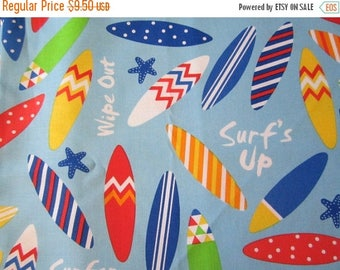 SALE Ann Kelle Surf's Up fabric BTHY Light Blue Background Surfboards and Starfish Bright Primary Colors Designed for Robert Kaufman Super C