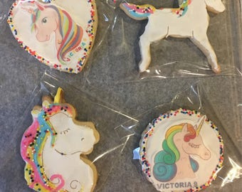 Unicorn butter cookies with chocolate melts