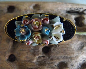Vintage Porcelain Flower Brooch Hand Made in Spain Mercedes tag unworn condition