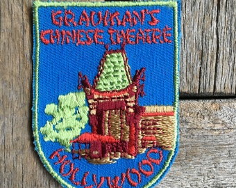 Grauman's Chinese Theater Hollywood, California Vintage Travel Souvenir Patch by Voyager