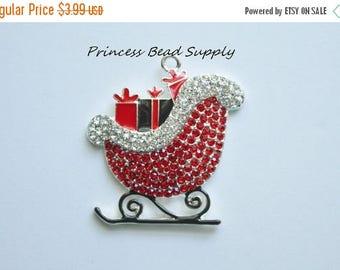 SALE Santa Sleigh Rhinestone Pendant for Chunky Necklaces,  44 x 41mm Christmas Pendant,  Santa Sled Necklace Pendant