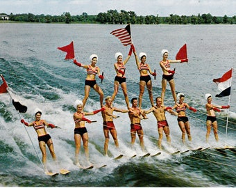 Vintage Water Skiing Collectible Postcard Paper Ephemera Cypress Gardens Florida