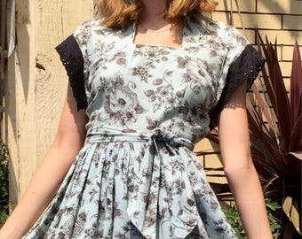 Vintage 40's -50's sweet floral toile print dress baby blue and black lace/ size small