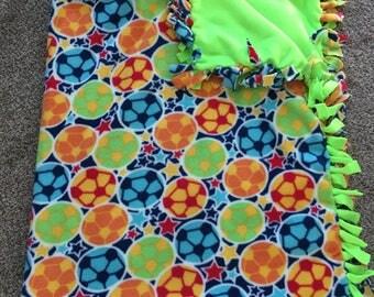 "Hand Made No Sew Fleece Soccer Blanket 60"" x 73"""