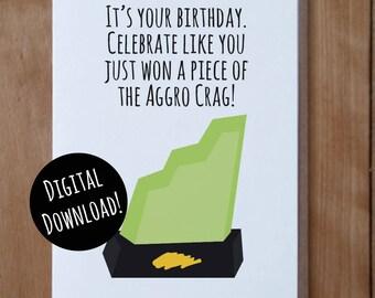 Nickelodeon Guts Inspired DIGITAL Birthday Card, Aggro Crag Card, 90s Nostalgia Birthday Card