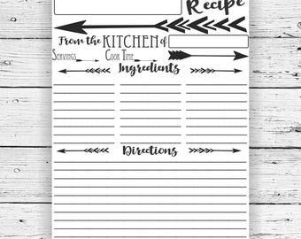 Editable Recipe page, digital download, printable, arrow, instant download