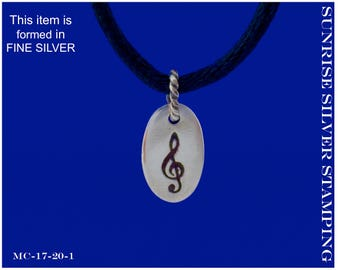 Silver Treble Clef Pendant, Fine Silver G Clef Necklace, Treble Clef Jewelry, Gift for Violinist, Pianist, Music Teacher, Music Student, PMC