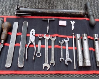 Superb JAGUAR XK120 Tool Kit Spanners,Box Spanners,Tommy Bar,Grease Gun Pump Etc