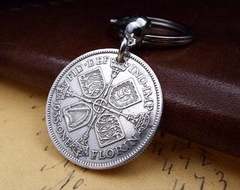 Genuine 1935 50% Silver George V UK Florin Keychain 83rd Birthday Gift