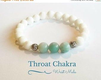 SALE Amazonite Bracelet, Throat Chakra Wrist Mala Beads Bracelet, Meditation Yoga Bracelet, Enlightenment Stack, Healing Crystals and Stones