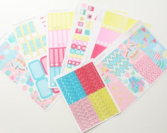 Happy Birthday To Me Weekly Planner Sticker Kit and Washi Removable Matte  or Glossy Stickers