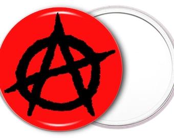 Anarchy makeup mirror - Anarchy pocket mirror - punk mirror - punk makeup mirror - makeup tools - makeup accessories - gift idea