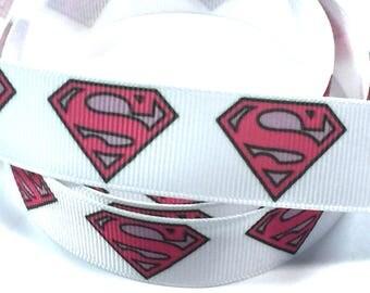 "7/8 "" inch  Supergirl Super girl Pink on White - Super hero - Super heroes - Printed Grosgrain Ribbon"
