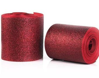 "3 inch Red Glitter Super Sparkle Grosgrain Ribbon for 3 inch Cheer Hair Bow - Back of Ribbon is Red Grosgrain 3""  3 inch Cheer Hair Bow"