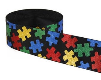 "3 inch Autism Glitter Super Sparkle Puzzle Printed Grosgrain 3 inch Cheer Hair Bow - Back is Black 3""  3 inch Cheer Hair Bow"
