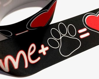 3 inch I Love Dogs Me Plus Dog Paw Equal Love Printed Grosgrain Ribbon Cheer Hair Bow - 3""
