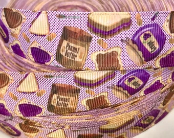 """7/8 inch Peanut Butter and Jelly Best Friends BFF Sandwich Printed Grosgrain Ribbon Hair Bow - 7/8"""""""