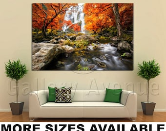Wall Art Giclee Canvas Picture Print Gallery Wrap Ready to Hang Fall Forest Waterfall 60x40 48x32 36x24 24x16 18x12 3.2