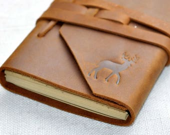 Custom personalized leather Journal Leather notebook refillable  ( stamp Logo)