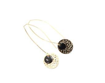 Medina gold plated black enamel earrings